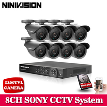 Home HD 8CH CCTV DVR NVR HVR System CCTV DVR Kit support onvif HDMI 1080P output Black SONY CCD 1200TVL Security Camera system(China)