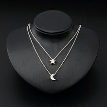 LNRRABC Sale Women Lady Girl New Gold Silver Color Star Moon Two Layered Chain Pendent Necklaces Fashion Jewelry(China)