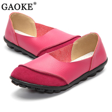 Genuine Leather Women Loafers Summer Fashion Slip on Casual Flats Round Toe Shoes Non-Slip Outdoor Shoes Plus Size zapatos mujer(China)