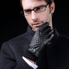 Classic Plaid Design Men's Business Leather Gloves Full Finger Touch Screen Winter Keep Warm Windproof Driving Guantes Mittens(China)