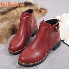 Flat Shoes Woman Ankle Boots Flock Leather Slip On Motorcycle Women Boots  LFY121