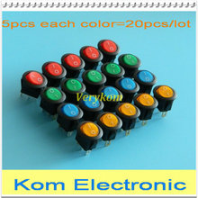 20pcs 4 colors 16A 12V LED Light Round Rocker ON/OFF SPST Switch 3 Pins With LED,High Bright led red yellow green blue