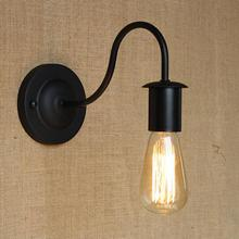 Simple & Modern Industrial Vintage Black Iron Wall Lamp Loft Style Curve Arm Hallway Retro Wall Light Free Shipping(China)