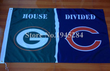 NFL Green Bay Packers Chicago Bears House Divided Flag New 3x5ft 90x150cm Polyester Flag Banner, free shipping(China)