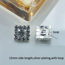(M0180) 12mm rhinestone button ,with loop at back ,Squre Rhinestone Cluster,(China)