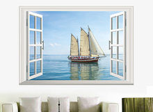 Removable Art Decal 3D effect Ocean Boat Blue Sea Wall room Sticker Decor Mural