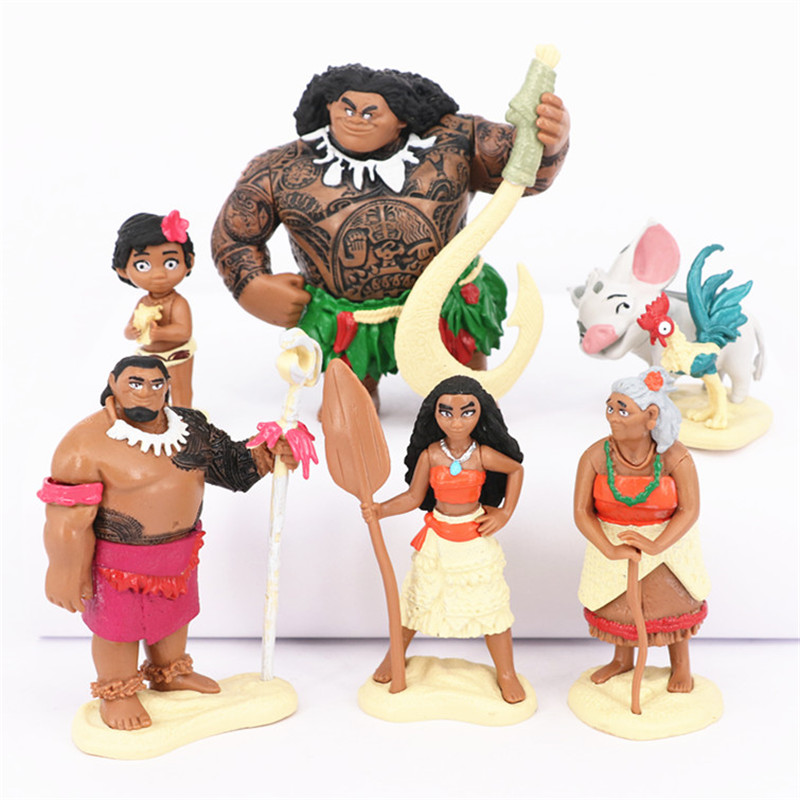 6pcs/set Princess Moana Doll Maui Chief Tui Tala Heihei Pua Action Figure Brinquedo Toys For Children Christmas New Year Gift#G(China (Mainland))