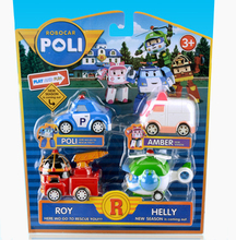 4pcs/lot Kids Toys Robot Cars Pull Back Helicopter Fire Truck Police Action Figure Cars Doll Boys Gifts Toy Christmas Present #E