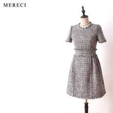 2017 runway designer high quality elegant formal purebliss tweed dress short sleeve a line dress