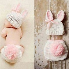 Cartoon Bunny Newborn Crochet Hat Shorts With Pompom Adorable Knit Hats Baby Rabbit Ear Hats New born Photography Props  KD102