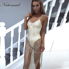 NATTEMAID Dancing party dress Summer dresses Sexy sleeveless V-neck Silver sequin bodycon vestido party night wear *Large Stock*(China)