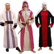 2017 Men Arab Prince King Cosplay Costume Adults Performance Clothing Robe Halloween Carnival Fancy Dress Supplies