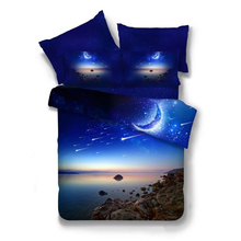 Quiet Galaxy Bedding Set 2pcs/3pcs/4pcs Close to Outer Space Duvet Cover Set Flat Sheet and Pillow Cases Twin Queen Size