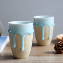 High Quality Zakka Style Brief Ceramic Cups Handmade Flow Glazes Water Ice Cream Tea Porcelain Coffee Cups Drinkware Blue Mugs