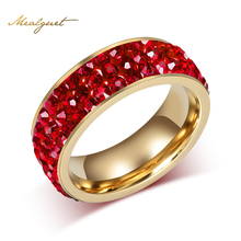 Meaeguet Shining bright women crystal ring gold color wedding rings for women wholesale free shipping