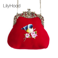LilyHood Lady Wool Embroidery Handmade Vintage Retro Trendy Baroque Old China Kiss Lock Small Cell Phone Frame Red Crossbody Bag