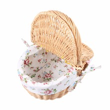 Wicker Basket Wicker Camping Picnic Basket Shopping Storage Hamper with Lid and Handle Wooden Color Wicker Picnic Basket