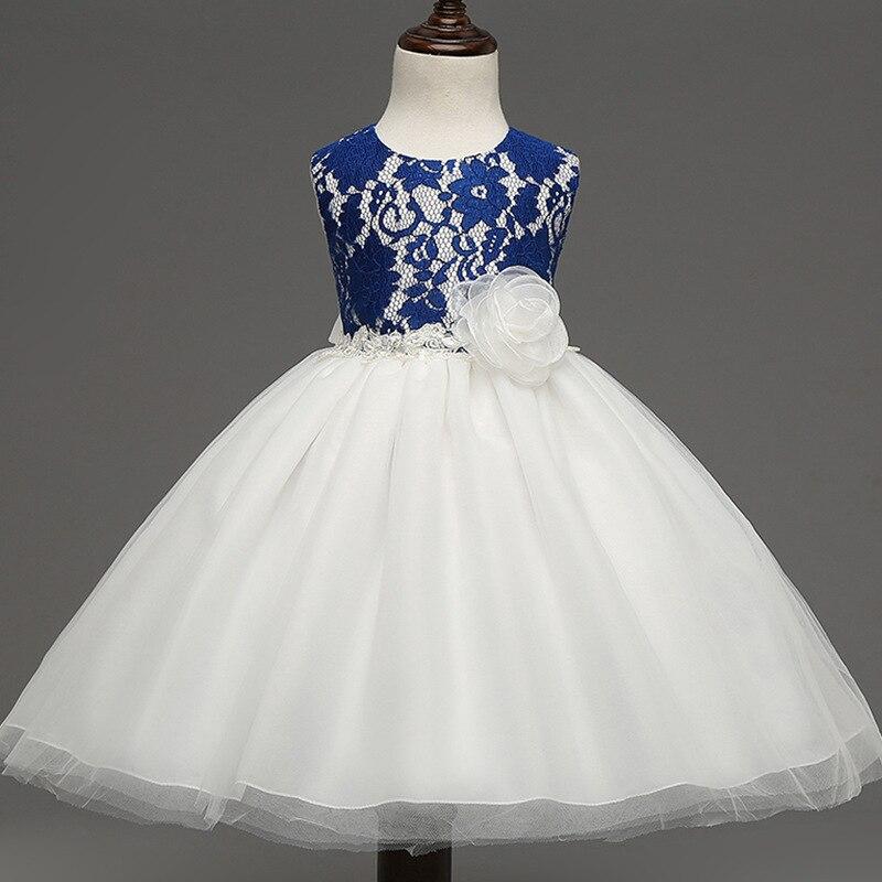 kids girl costume dress Retro grade girls flower princess lace dress gauze puff sleeveless ball dress wedding party dress<br>