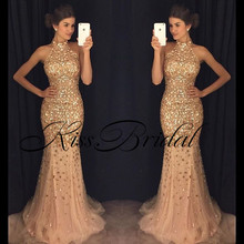 Hot Sale Exquisite Beaded Mermaid Prom Dresses 2017 Halter Neck Sleeveless Sweep Train Satin Evening Party robe de soiree