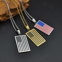 Fashion USA Flag Pendant Necklace Jewelry Stainless Steel Patriot Chain Necklaces For Men Women Gifts CX17(China)