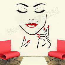 Beauty Salon Girl Face Hand Manicure Nail Lips Wall Stickers Interior Long Lashes Closeup Mural Beauty Salon Makeup Decal ZW291(China)