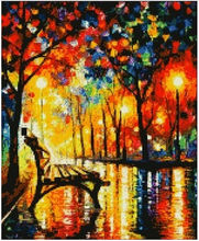 High Quality 11CT Printed Fabric Factory Shop Cross Stitch Kit Chair In Rain Tree Romantic Oil Painting Unopened(China)