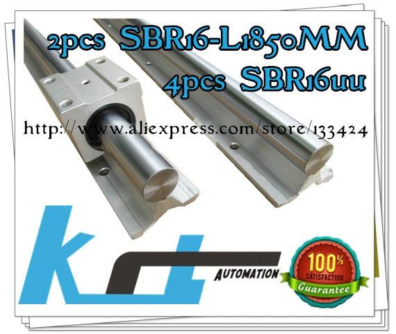16mm linear rail 2pcs SBR16 -L1850mm supporter rails, 4pcs SBR16UU blocks for CNC linear shaft support rails and bearing blocks<br><br>Aliexpress