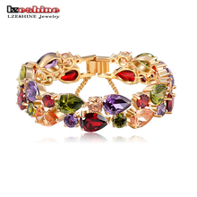 LZESHINE Bracelets & Bangles 2016 New Colorful AAA Zircon Charm Bracelet Gold Women Bracelet Fashion Jewelry Pulseira Feminina