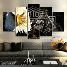 5 pieces Canvas Art Painting Eagle Leopard Lion Painting Home Decor Wall Art Animal Canvas Prints Picture Framed Ready to Hang