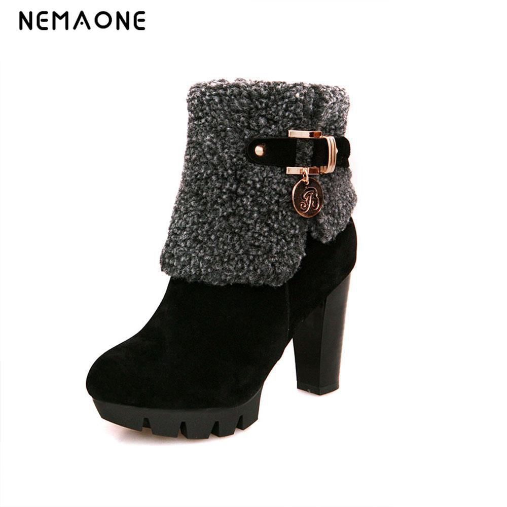 NEMAONE free shipping women boots fashion autumn ankle boots pu leather shoes woman black brown high heels boots shoes women<br>