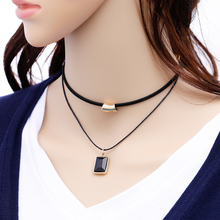Fashion Metal Geometric Square Rhinestone Pendants Necklace Multilayer Necklace Maxi Statement Chokers Necklace Women Jewelry(China)