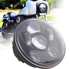 "Black 5.75"" HID LED Headlight High Low Beam 5 3/4"" Front Driving Head Lights Headlamp For Harley Davidson Motorcycle Daymaker"