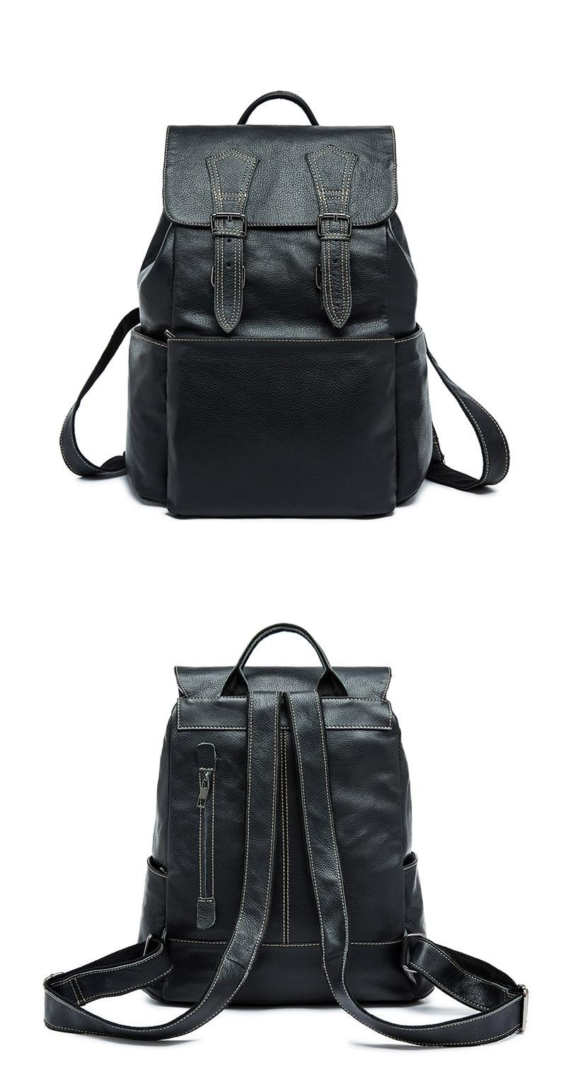Genuine Leather Men Backpacks 13 inch Laptop Bags Fashion School Backpack Teenagers Vintage Bagpack Travel Bag Mochila Notebook
