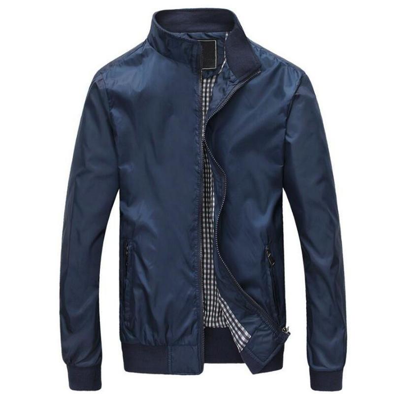 2017 Spring Autumn Solid Bomber Jacket Men Fashion Casual Thin Style  Mens Jacket Coat (Asian Size)