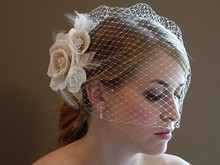 Free Shipping White Bridal Birdcage Veil With White And Champagne Flowers For Wedding and Brides Wedding Accessories