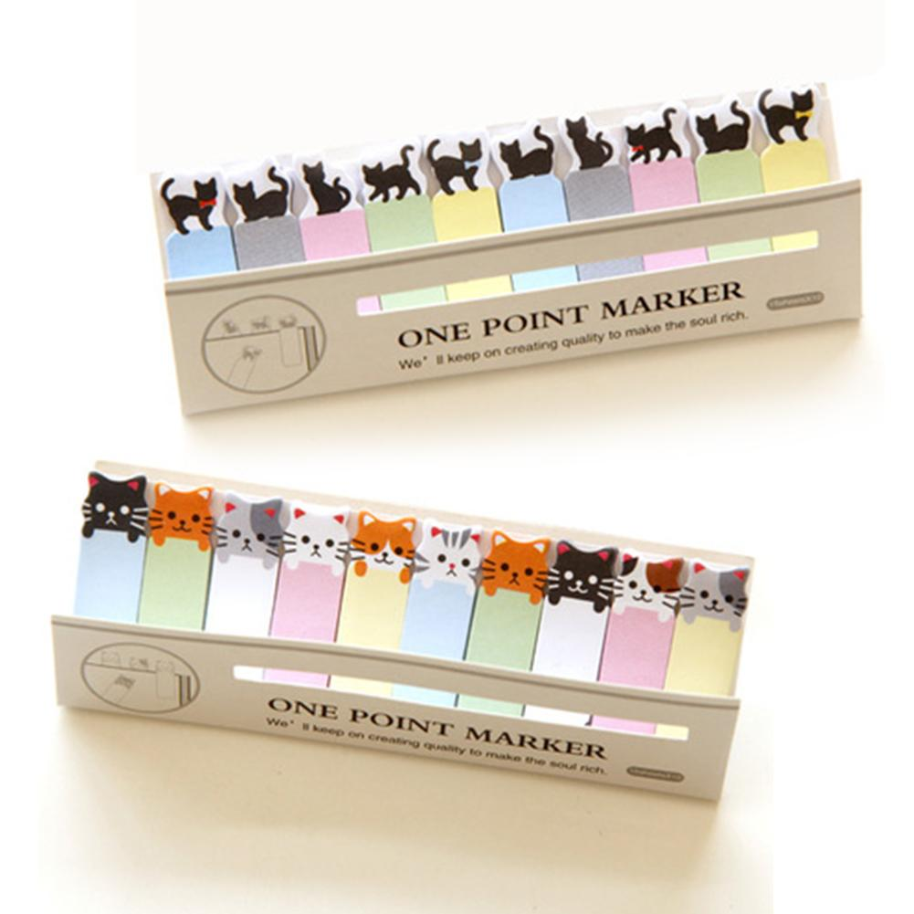 Office Writing Cute Funny Joy Cat Style Sticker Post It Bookmark Memo Marker Point Flags Sticky Notes label Decoration W5(China)