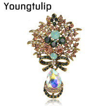 Youngtulip big crystal water drop flower brooches for women vintage fashion dresses coat brooch and pin wedding corsage ornament