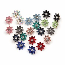 1Pair 2017 Hot Sale Colorful Flower Crystal Flower Ear Stud Fashion Women Statement Stud Earrings Women #252917(China)