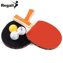 1Pair REGAIL Horizontal Grip Table Tennis Paddle Ping Pong Racket Two-Side Rubber 7 Layers Wood Long Handle 3 Balls Super Glue