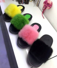 2017 Best selling Feminina Mules flats heel  thick sole 6 colors  personalized outwear flip flops fur Beach shoes Slippers Women