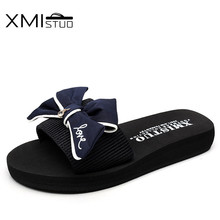 XMISTUO Beautifully crafted bowknot decor Rome flat bottom with a simple word cute girl vacation home stretch with rome slippers(China)
