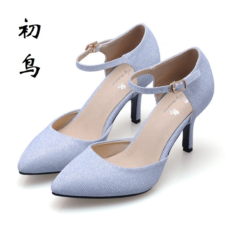 2017 Size 33-41 Fashion Shiny Material Sexy Women Sandals High Heels Ladies Pumps Shoes Woman Summer Style Chaussure Femme Talon<br>
