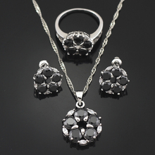 HAIMIS Free Gift Box Black Onyx  Women Jewerly Sets Necklace Pendant Stud Earring Ring Size 6 9 Bridal Jewelry Sets T014B