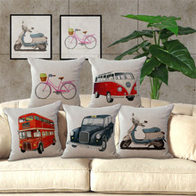 KYYZROZZZ Decorative throw pillow case cover cute cartoon bike lovely bus cotton linen square cushion cover for sofa home