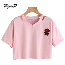 HziriP Women T-shirt Embroidery Floral  Hot Sale Basic Top Short Casual Pink Fashion 2017 Summer Female Shirt Ladies Tee Shirts
