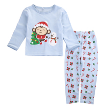 Xmas 2PCS Toddler Kids Baby Boys Girls Monkey Clothing Set Children Kids Long Sleeve Tops +Pants Pajamas Sleepwear Pjs Clothes