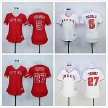 Womens 27 Mike Trout 56 Kole Calhoun 5 Albert Pujols Blank Jersey White Red Throwback Jersey