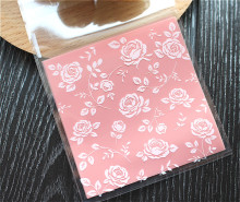 100pcs/lot New product  pink rose plastic cookie packaging 8x8cm cupcake wrapper bags  self adhesive bags