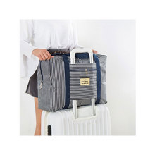 Women's Waterproof Oxford Fabric Carry On Bag Fashion Striped Zipper Travel Totes Size S