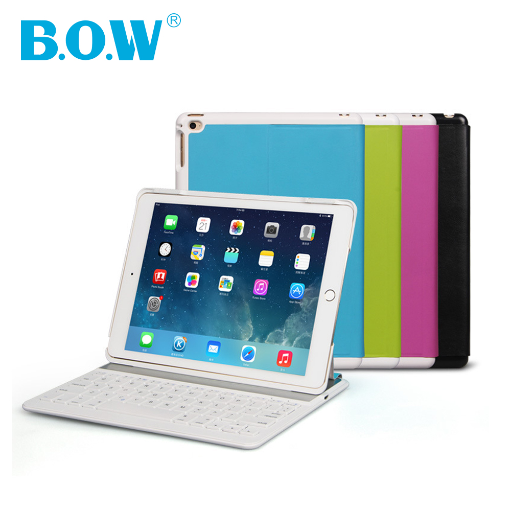 B.O.W For Apple keyboard, Ultra-thin Wireless Keyboard Case For ipad keyboard (iPad 5) Smart Folio Case with Auto Sleep//Wake up<br>